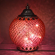 BEAUTIFUL MOROCCAN STYLE PINK GLASS LANTERN WITH LED LIGHTING NEW & BOXED
