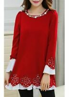 UK Summer Womens Black Laser Cut Blouse Ladies Long Sleeve Red Dress