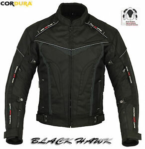 BLACK HAWK MENS ARMOURED HIGH QUALITY VENTED MOTORBIKE MOTORCYCLE TEXTILE JACKET