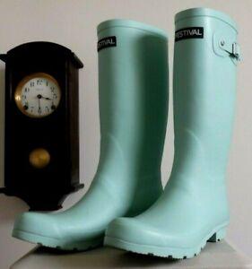 MInt green FESTIVAL tall rain rubber boots wellies  Woman 10 EUC