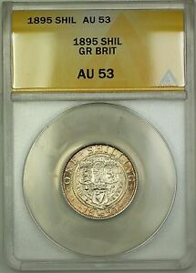 1895 Great Britain 1S Shilling Silver Coin ANACS AU-53