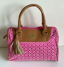 NEW! TOMMY HILFIGER PINK BOWLER SATCHEL TOTE BAG PURSE HANDBAG $79 SALE
