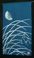 Kyoto Rabbit Moon Noren Door curtain Roketsu Dye Handpaint Cotton 85x150cm Japan