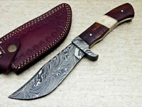 """NEW CUSTOM HAND FORGED DAMASCUS 10"""" HUNTING KNIFE NATURAL WOOD HANDLE - UT-1624"""