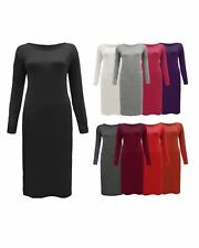 Ladies Women Long Sleeve Plain Body con Long Midi Maxi Stretch Dress Plus Size