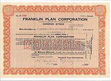 FRANKLIN PLAN CORPORATION......1931 STOCK CERTIFICATE