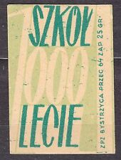 POLAND 1959 Matchbox Label - Cat.Z#136a-ps. 1000 Schools for 1000 years (Polish)