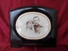 1920s ANTIQUE BIG WOODEN MAHOGANY PHOTO PICTURE FRAME w/ORIGINAL REAL PHOTO