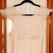 Women's Vintage Nightgown 1930s Antique Bias Cut Chantilly Lace Peach 30 / S