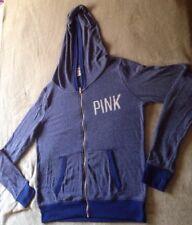 Pink Victorias Secret Blue Polyester Blend LS Zip Up Hoodie Sz M