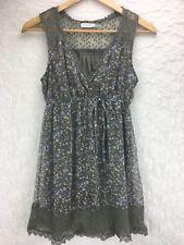 BLUE BIRD Women's Size 8 Medium Brown Blue White Floral Print Dress Boho Lace