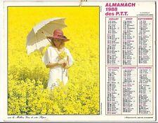 CALENDRIER ALMANACH PTT 1988 LAVIGNE Année Bissextile FLEURS FEMME ROMANTIQUE