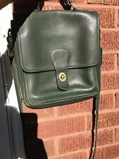 COACH WILLIS crossbody flap closure w/brass saddle forest green soft leather bag