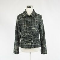 Black white plaid tweed ANAGE long sleeve jacket S