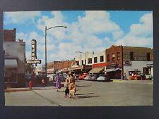 Bemidji Minnesota 4th & Beltrami Street Popcorn Cart Cars Signs Postcard 1950s
