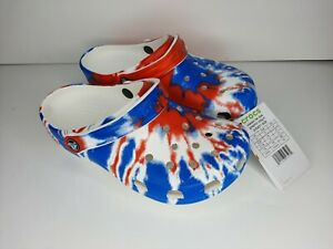 Crocs Classic Tie Dye Clog Size Junior 5 (J5) Red, White And Blue, Brand New