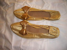 Vintage 1960's gold bow flats Bert Lyn house shoes slippers 7 7.5 leather sole