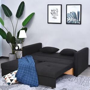 HOMCOM 2-Seater Storage Sofa Convertible Bed Wood Frame Padding Compact Dark