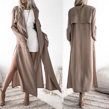 Women Ladies Long Sleeve Top Cardigan Waterfall Jacket Outwear Long Maxi Coat Khaki 2xl