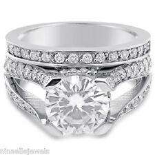 7MM MOISSANITE & DIAMONDS SPLIT SHANK ENGAGEMENT RING & BAND WEDDING SET R77