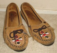 New Women's 7 Minnetonka Moccasins Vintage Thunderbirds Boat Sole Leather Suede