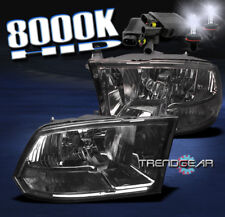 2009-2017 DODGE RAM 1500 2500 3500 CRYSTAL HEAD LIGHTS+8000K HID SMOKE 2010 2011