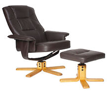Alphason Drake Brown Faux Leather Reclining Chair Seat & Footstool Footrest Set