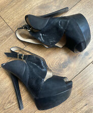 Fendi Luxe Alta Negro cuero GOTH FETISH Plataforma Peep Toe Zapatos de tacón Sandalias 5 38