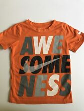 Nike Boys Awesomeness' Graphic Tee Size s 4-5 Orange Gray