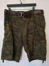 Firetrap Men Army Shorts With belt Size 2XL BNW RRP £40