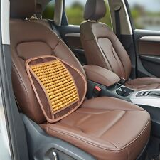 1x Mesh Wood Bead Car Seat Cover Cushion Back Support Pack Waist Massage Brown