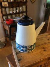 Vintage Blue & White Patterned Enamel Coffee Pot – Flowers – Retro! –