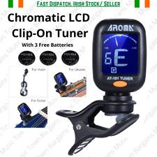 Guitar Tuner LCD Clip-On Chromatic Tuner Ukulele Violin Bass Banjo + 3 Batteries