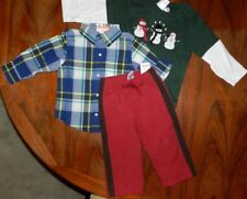 Athletic Pant Set Red 3pc Plaid Top Tee Gymboree Boy size 18-24 month New