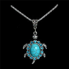 NEW Turtle Turquoise Tortoise Crystal Pendant Charm Silver Necklace Chain Gift