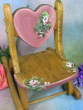 """VINTAGE Hand crafted WOOD rocker DOLL CHAIR hand painted PINK FLORALS folds 13"""""""