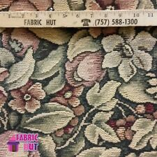 Home Decor Peach Vines And Flowers Heavy Upholstery Fabric by the Yard