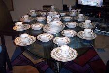 Vintage Jyoto (TanTraditional Pattern) Fine China Dinnerware Set 85 Pieces Japan
