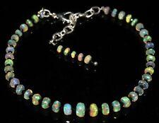 Ethiopian fire opal faceted & spinal bead bracelet 925 silver for men & women 1