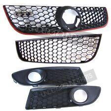 VW POLO 9N3 GTI FRONT BUMPER GRILLES SET UPPER LOWER HONEYCOMB FOG LAMP LIGHTS