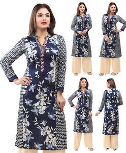 UK STOCK - Women Printed Blue Cotton Kurti Tunic Kurta Shirt Dress Cotton 153C