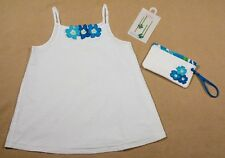 GYMBOREE GIRLS SZ 9 TOP HAIRPINS & PURSE POOL PARTY WHITE BLUE FLORAL SWISS DOT