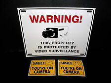 LOT OF WATERPROOF SECURITY CAMERA WARNING SIGN+WINDOW ATM STICKERS DECALS