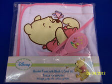 Winnie the Pooh Hooded Towel, Brush & Comb Set Baby Shower Party Gift - Pink