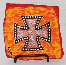 Studs/Flames/Heavy Metal/Punk Iron Cross Painting By Artist Elissa Dawn Shakal