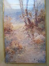 PAYSAGE OREE d'un BOIS J.B.JAFFEUX (XIXe) HIVER AQUARELLE. 47 X 17,5 CADRE anc