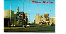 Nice 1950's Main Street postcard - 1st Avenue North, Billings, Montana