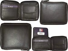 Lot of 4 Zip around FIZA NY leather men's wallet Brown Bi-fold wallet 6 card BN