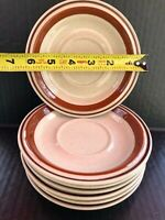 CONTEMPORARY CHATEAU STONEWARE JAPAN SIENNA BROWN SAUCERS LOT OF 7 EUC!!!