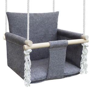 Balançoire pour enfants Swing Bébé, de bois, pour jardin, pour intérieur, gris